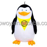 custom giveaway soft plush stuffed yellow bandana cute Penguin embroidery imprinted promotional logo yellow bandana cute Penguin