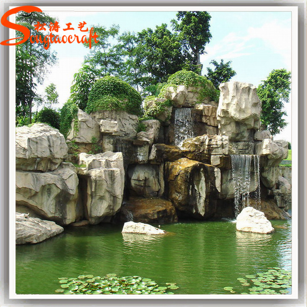 Cheap fiber glass rock waterfall garden landscape fountain for Waterfalls for ponds for sale