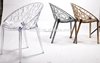 Modern design pc chair Hot selling fashionable decorative cheap crystal leisure Vegetal plastic dining chair