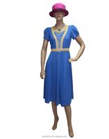 Short front long blue dress short sleeve dress muslim style dress
