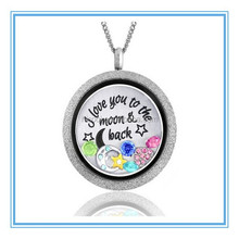 I Love You to the Moon and Back Floating Locket Necklace with Charms- Locket, Charms, Plate & Chain stainless steel pendant
