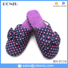 2015 wedge heels women home cotton women slippers sandals with bowknot