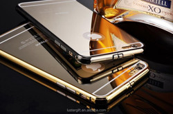Best selling! For iPhone Mirror cover Metal gold bumper case for iPhone 6 / 6 plus