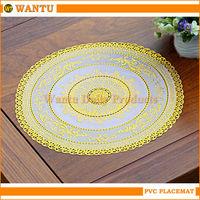 WT-308C Yiwu Fucun Shentangwu Wantu Polyvinyl Crochet Round Table Placemats Eating Table Gold Mat