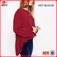 Loose long sleeve new design woman blouse for woman