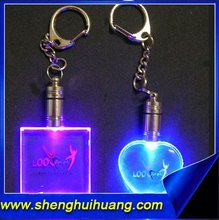 Fancy custom 3d engraved rose crystal keychain/key chain, colorful Crystal LED keychain/keyring for festival gifts