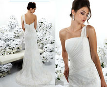 WD1774 one thin sheer strap ruched tulle overlay brush train zipper close back perfect tulle bodice lace bttom wedding dress