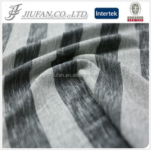 Jiufan Textile Polyester Rayon Yarn Dyed Stripe Hacci Jersey Knit Fabric with Silver Silk