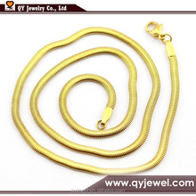 Fashion Design 24k gold plated 316 stainless steel 5mm snake necklace chain