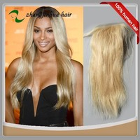 Cheap Silky Straight Blond Brazilian Remy Human Hair Top Lace Closure Piece