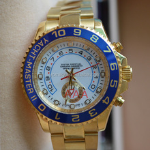 Top quality automatic famous brand watch Yachtmaster II mens gold watches