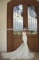 New Style Open Low Back Sexy Long Beach Pearl Lace Peacock Wedding Dresses Suzhou Sale 2014 Spring XT-772
