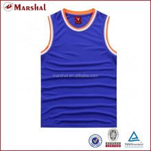 Blue jersey basketball design 100% polyester basketball uniforms for sale