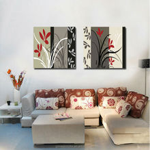 two units canvas modern art flower frameless painting