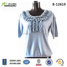 BLUE PHOENIX new design fashion short sleeves 100% cashmere korean style knitting sweaters