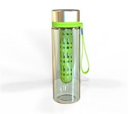 800ml bpa free tritan fruit infuser/stainless steel cap water bottle