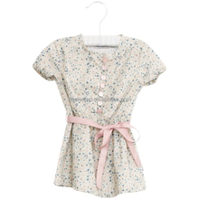 OEM service for short sleeve girl's dress, printed thin woven soft 100% cotton, girls cotton dresses