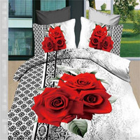 3d red big rose flowers printed cotton fabric quilt cover/quilt set