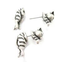 2015 New Adorable Kitty Cat Aniaml Themed Two Parts Women Stud Earring in Bronze and Anique Silver