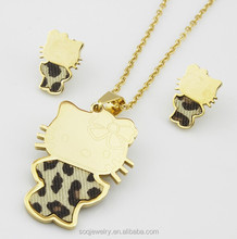 Stainless Steel 18k Gold Plated Hello Kitty Jewelry Sets for Girls Cute Cat Pendants Necklace and Earrings