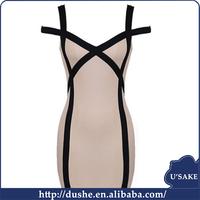 fashion bandage spaghetti champagne sexy short dress