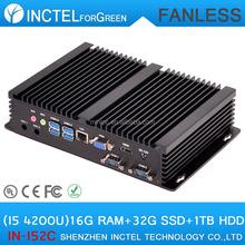 Mini Computer Fanless PC with Intel i5 processor 2 COM 4 USB3.0 16G RAM 32G SSD 1TB HDD