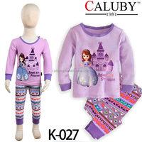 Wholesale kids cartoon cheap clothes set baby girls pyjama set