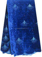 Royal blue african lace fabrices velvet lace fabric stores in china