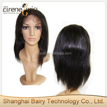Indian remy silky yaki hair black color with grey hair mixed full lace wig for old women