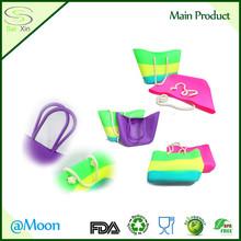 Rubber waterproof outdoor beach bean bag, fashion silicone shopping bag, Silicone Ladies shopping bags