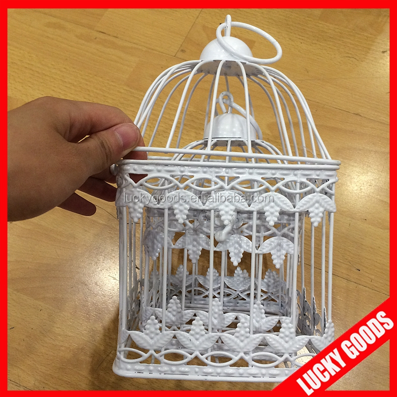 Hanging small decorative iron wire bird cage wholesale for Petite cage a oiseaux decorative
