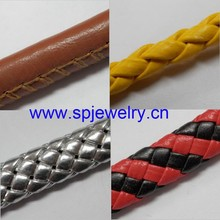 flat braided leather cord, many shapes and colors for choice