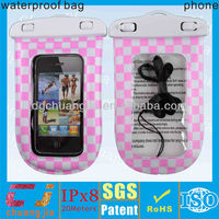 Hot popular plastic waterproof bag for mobile phone with string