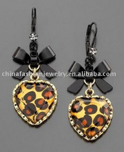 2015 Fashion Leopard Heart Pendant Earrings (HSXE0112)