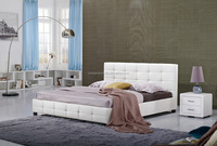 2015 latest double bed designs King size leather bed 113A
