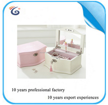 New Arrival Gift for girl lady beautiful white pink music ballerina wooden jewelry box