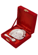 Wedding Guest Gift Item - Silver Palted Mango Bowl with Spoon Set