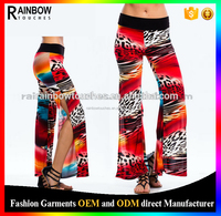 stylish allover wild animal print high slit women palazzo pants