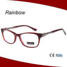 New developed general use acetate frame prescription glasses with metal temple
