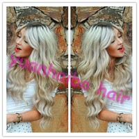 New Arriving! 100% Virgin Brazilian Human Hair Glueless Lace Front Wig Ombre Silver Grey Human Hair
