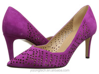 JUSITY Fancy purple hollow out girls pencil high heel dress shoes for office lady