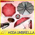 Automático abierto/cierre 3 sección paraguas con protección uv en el interior