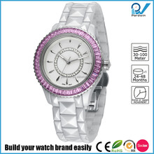 PVD Gold/Silver bezel ceramic case crystal diamond and ceramic band crystal women ceramic watch
