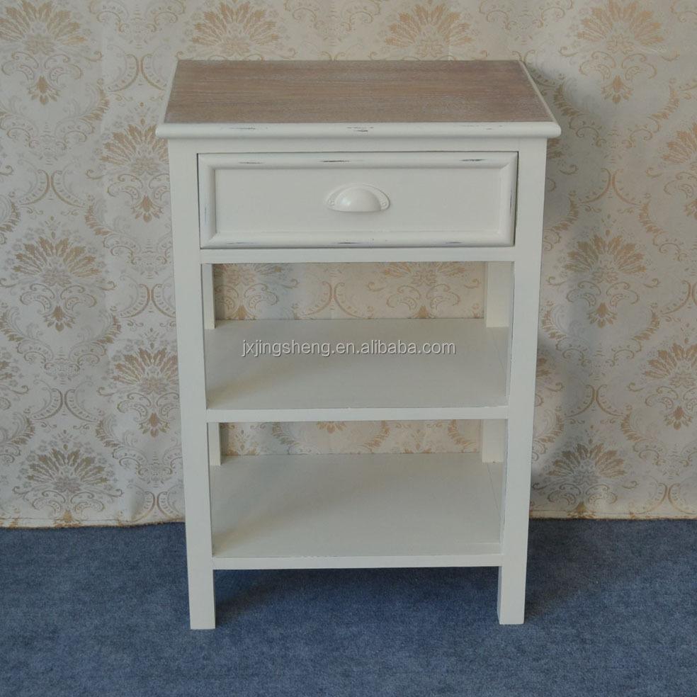 shabby chic franse stijl witte enkele lade nachtkastje-salontafels ...
