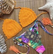 2016 unique design orange triangle crochet knitting bikini