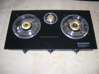 Gas stove 3 brass burner with ss body tempered glass top