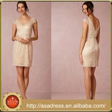 BD61 Elegant Champagne Girl Bridesmaid Dresses Sheath Knee Length Lace Maid of Honor Dresses for Weddings