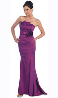 Form Fitting Purple Taffeta Evening Dress with Strapless Neckline Empire Waist and Full Length Skirt