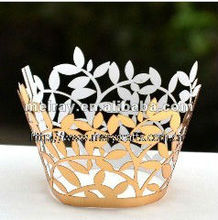 2013 new product various colors of leaves shape laser cut cupcake wraps nice cake decorating
