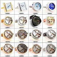 custom made novelty gold/silver/ black mens shirt watch metal cufflinks mechanical cufflinks